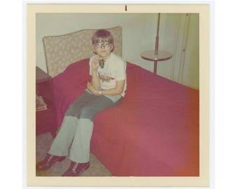 Vintage Snapshot Photo: Boy with Room Key, 1970s (75579)