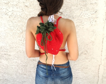 Crochet Strawberry Book Bag