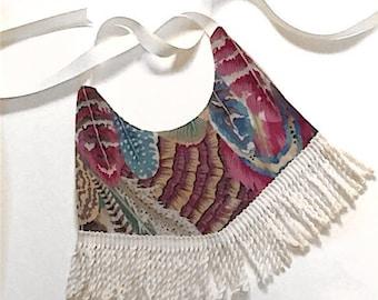 Boho Fringe Bib Feather Print Fashionable Trendy One of a Kind Baby Gift Idea