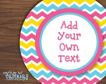 Editable Easter Circle Tags in Hot Pink, Blue and Yellow, Printable Chevron Custom Message Labels, INSTANT DOWNLOAD, digital  file