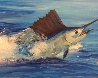 Sailfish in the Blue Ocean - Original 12 X 24 Painting