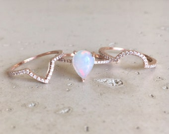 Fire Opal Engagement Ring- Rose Gold Opal Engagement Ring- Pear Shape Opal Engagement Ring- Opal Engagement Ring Set- Diamond Opal Ring