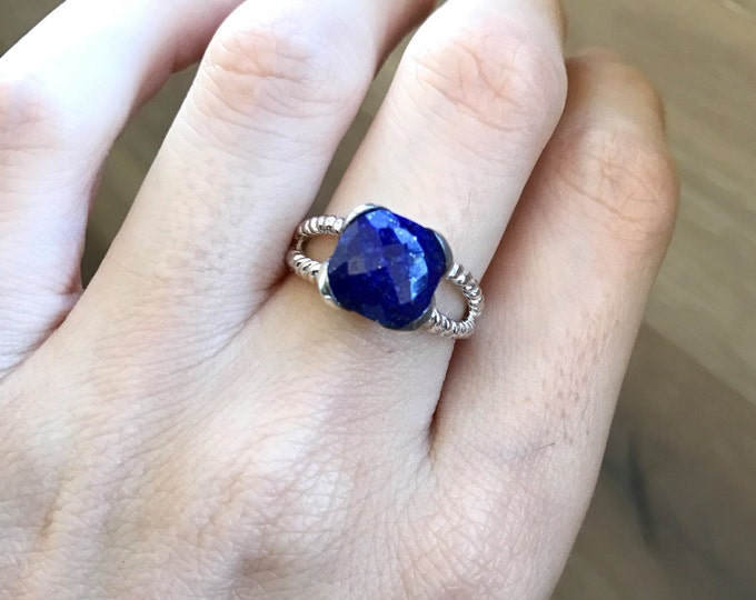 Statement Lapis Ring- Lapis Lazuli Square Ring- Sterling Silver Ring- December Birthstone Ring- Something Blue Ring- Double Band Rope Ring