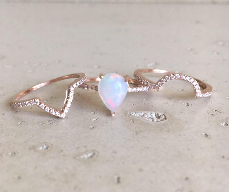 opal wedding band opal wedding ring sets Fire Opal Engagement Ring Rose Gold Opal Engagement Ring Pear Shape Opal Engagement Ring Opal Engagement Ring Set Diamond Opal Ring