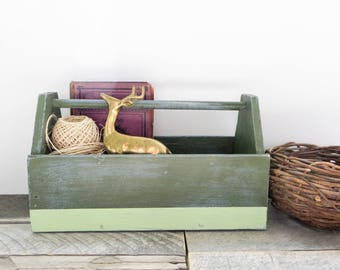 Rustic Caddy - Upcycled - Sage Green Mint Green - Chic Storage Solution