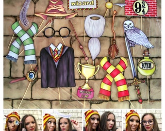 Harry Potter inspired - wizard and witches magic photo booth props - perfect for your movie themed spell party or sorcery magic  themed bash