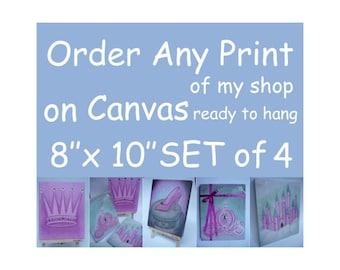 Any Print of my shop on Canvas Gallery Wrap, Canvas SET OF FOUR 8 X 10, Nursery Decor, Nursery Wall Art, Kids Decor, Kids Wall Art,  Artwork