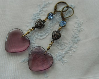 SALE 15% coupon code MARCH15 Vintage Glass Heart Dangle Earrings Vintage Purple Glass Hearts and Crystals by 58diamond