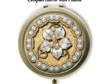 You Choose Broach Design Compact Mirror or Pillbox with Mirror - Choose Finish Bronze Silver - Pocket Folding Mirror - Great Gift Idea