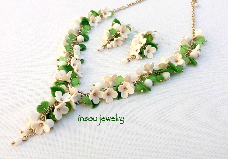 Green Jewelry Flower Jewelry Green White Floral Jewelry
