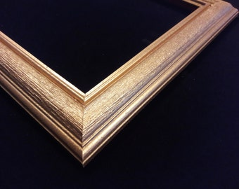 8 x 10 Ready to Ship picture frame ~ Wood grain texture center ~ gold Mine Metallic Accent ~ 1 1/2 x 3/4 x 3/8 inch Moulding