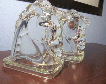 Vintage Federal Glass Horse Heads Bookends