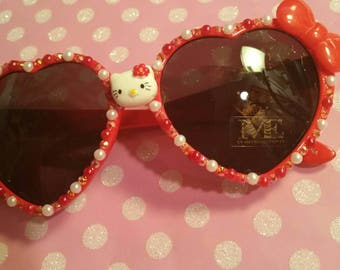 Kitty sunglasses, red sunglasses, heart sunglasses, bling sunglasses, deco sunglasses, sunglasses, kawaii