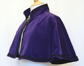 Cotton Velvet Cape Taffeta Lined Venise Lace and  satin Rose bud trim Victorian Steampunk Goth Bridal OBSIDIAN
