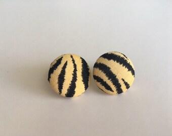 Zebra Print Button Earrings