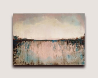 Abstract Seascape, Rose Tinted Bay, Oil Painting Canvas Wall Art, Landscape, modern abstract, original artwork, fine art, abstract art