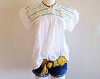 Southwest Summer Vintage Boho Blouse Hippie Top