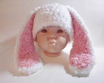 Ready to Ship (6-12 mo) Crochet Childrens Bunny Hat, Infant Girls White and Pink Floppy Bunny Ears Hat, Easter Photo Prop