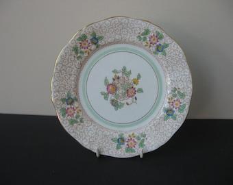 "Vtg ADDERLEY Bone China England ""VIRGINIA"" Brown Scrolls 4 Salad Plates Set"