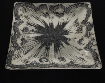 "Dorothy Thrope ""Original"" 11"" Sterling Silver Crystal Serving Tray/Platter.....Mid-Century"