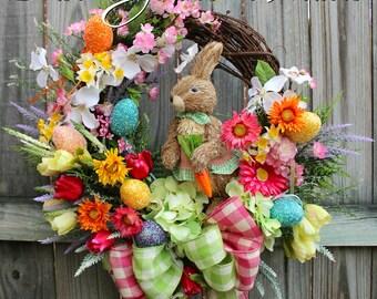 Colorful Easter Bunny Garden Wreath, Cherry Blossom, Tulip, Daffodil, Dogwood, Gerber Daisy, Sisal rabbit, Eggs, Spring Floral Wreath