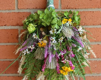 Irish Wildflower Floral Swag, Ireland Wreath, Spring wreath, rustic floral swag, Summer Floral, door hanging, clover Heather shamrock decor