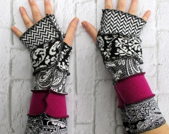 Arm Sleeves - Repurposed Clothing - Eco Friendly - Fingerless Gloves - Rose Magenta Fuchsia Pink - Handmade Gift for Graduate - Best Friend