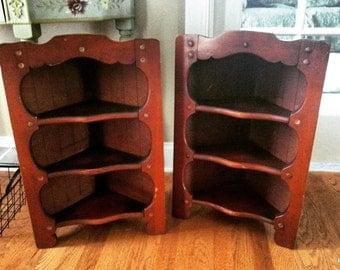 Vintage wooden corner shelves