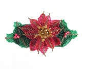 Barrette-Christmas poinsettia-holly-hand beaded-3 inch French barrette-holiday jewelry-beadwork-beaded flowers-OOAK-statement hair