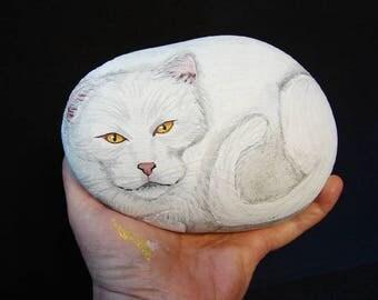 White Cat hand painted rock, rock art, RocksOK painted rocks