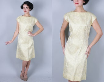 1960s Aureate dress | vintage 60s gold lurex shift dress with flower and leaf pattern | large