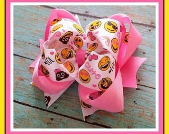 Emoji Hair Bow...Emoji and Pink Bow...Emoji Bow...Smiley face bow..Emoji Poop Bow