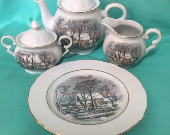 Avon Currier and Ives Tea Set