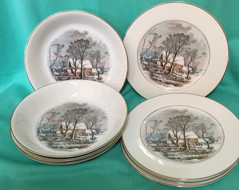 Avon Currier and Ives Dessert Plates and Bowls