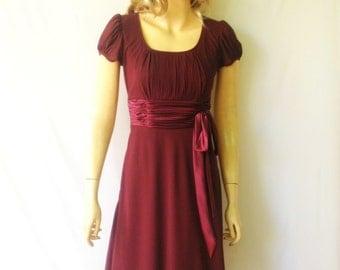 Burgundy Bridesmaid Dress. Dress With Sleeves