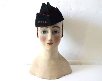 "Vintage WWII French Army Military Black Wool Side Cap / Garrison Cap / Bonnet de Police - 22"""