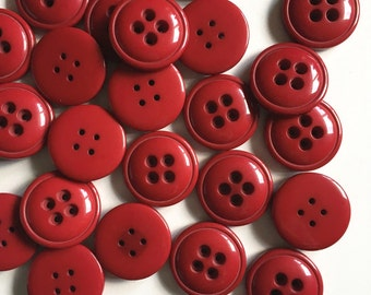 Large red Plastic buttons 3.5cm Diameter