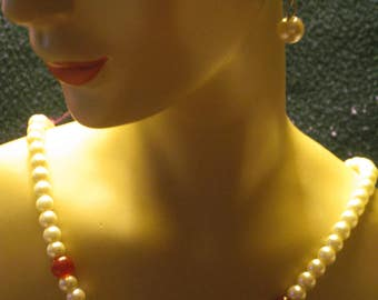 White Pearl Necklace and Earrings, With Red and Green Beads, 20 Inch