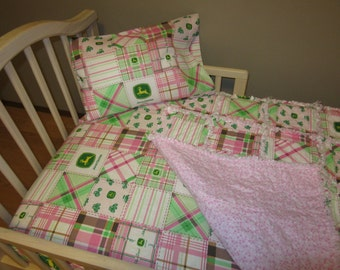 Pink JOHN DEERE Madras Plaid Fabric Crib Bedding Baby or Toddler Rag Quilt, Sheet and Pillow Case SET