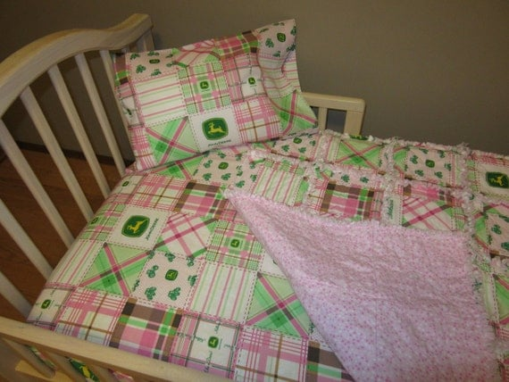 Pink JOHN DEERE Madras Plaid Fabric Crib Bedding Baby Or