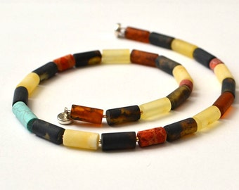 Amber Necklace, Amber Stone, Baltic Amber with Turquoise and Coral, Summer Necklace, Amber Jewelry