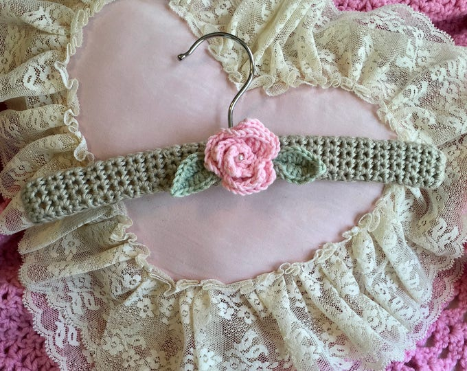 Sweet Baby Nursery Hanger, Delicate Pink Rose Covered Baby Hanger, Wooden Hanger,  Infant to Size 4 Hanger