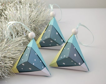 Christmas tree ornaments - Set 3 - Modern Christmas - Xmas - Snow, Winter - Paper ornaments, Origami Eco Christmas decorations - grey blue