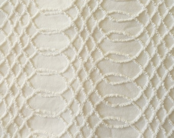 White Cabin Crafts Interlacing Needletuft Squiggle Vintage Chenille Bedspread Fabric Piece...  12 x 22""