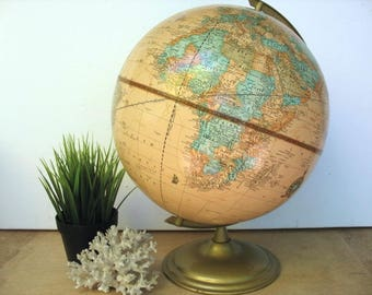 "Cram's Imperial World Globe Table Top Vintage Globe 12"" Diameter With Yugoslavia"