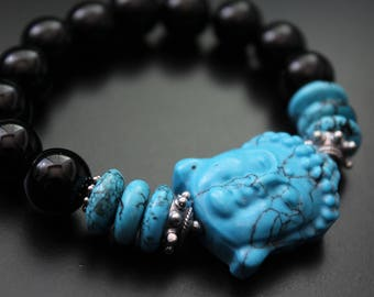 Turquoise Buddha bracelet carved Buddha bracelet turquoise and onyx gemstone bracelet boho spiritual stretch bracelet Bali sterling bracelet
