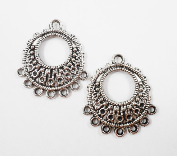 Hoop Chandelier Earring Findings 26x23mm 7 to 1 Antique Silver Earring Connectors, Connector Pendants, Jewelry Connector Findings, 6pcs
