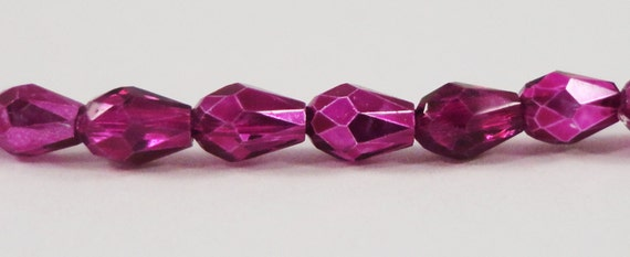 Crystal Teardrop Beads 5x3mm (3x5mm) Half Metallic Fuchsia Pink Crystal Beads, Small Chinese Crystal Glass Drop Beads, 50 Loose Beads