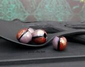 Hand Painted Round Wood Bead - Purple Red Black Brass - Bohemian Wood Cord Hemp Bead - 10mm - Pkg. 4