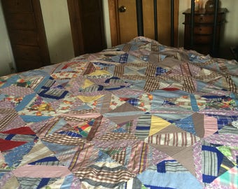 Beautiful Vintage Hand Sewn Quilt Topper